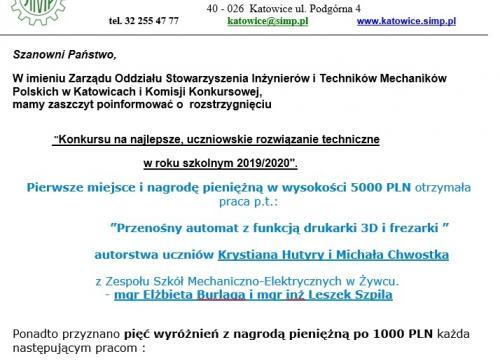 Olimpiada innowacji technicznych 2020